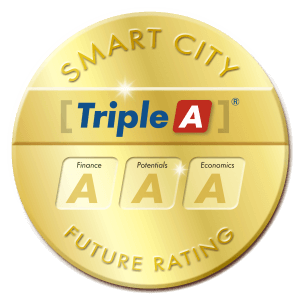 Siegel, gold, rund, Smart City Future Rating, United Smart Cities, Triple-A AG