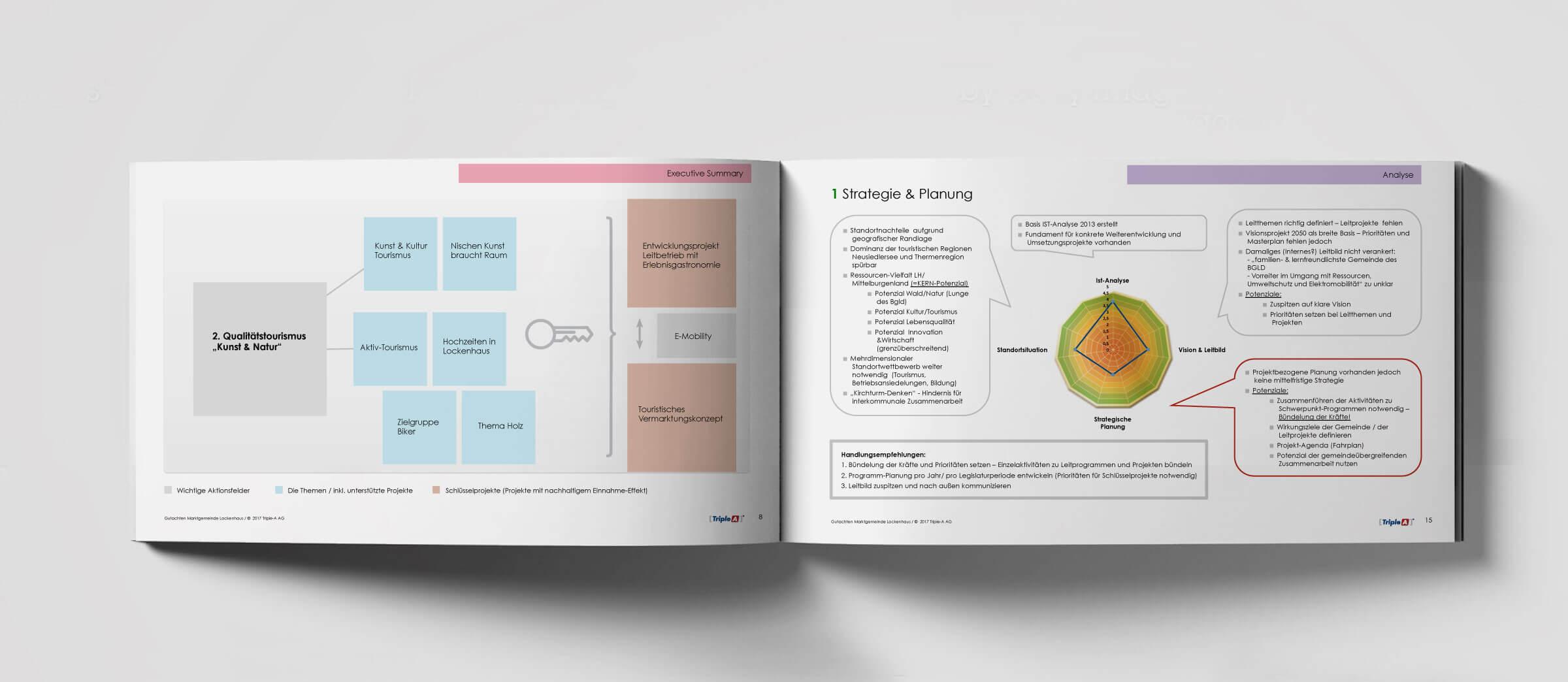 Buch, Mappe, Triple-A Potenzial Gutachten, weiß, Siegel, gold, rund, Triple-A AG