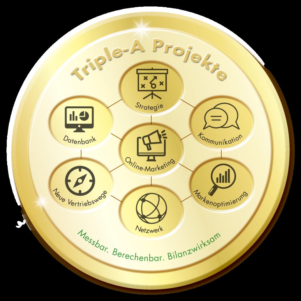 Siegel, gold, rund, Triple-A Projekte, Strategie, Marketing, messbar, berechenbar, bilanzwirksam, Triple-A AG