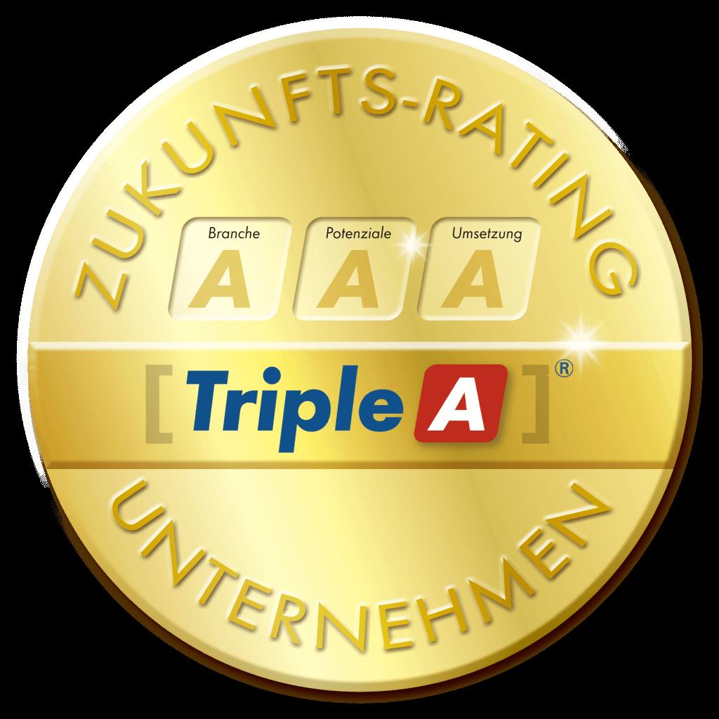 Siegel, gold, rund, Zukunfts-Rating für Unternehmen, Branche, Potenziale, Umsetzung, Triple-A AG