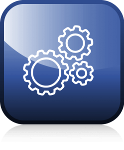 Icon, blau, Umriss, weiß, Zahnräder, Potenzial Gutachten, Unternehmen, Triple-A AG