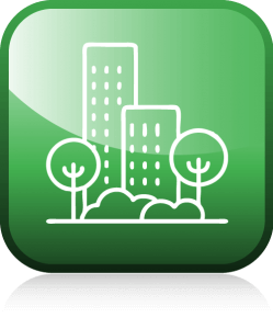 Icon, grün, Umrisse, Stadt, United Smart Cities, Triple-A AG