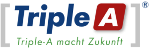 Logo der Triple-A Rating AG mit Sitz in Wien, Slogan Triple-A macht Zukunft