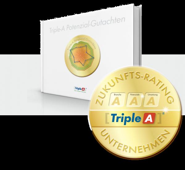 Buch, Triple-A Potenzial Gutachten, Siegel, gold, rund, Zukunfts-Rating, Unternehmen, Triple-A AG